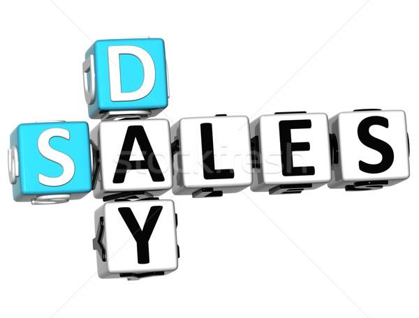 Foto stock: 3D · dia · de · vendas · palavras · cruzadas · branco · atravessar