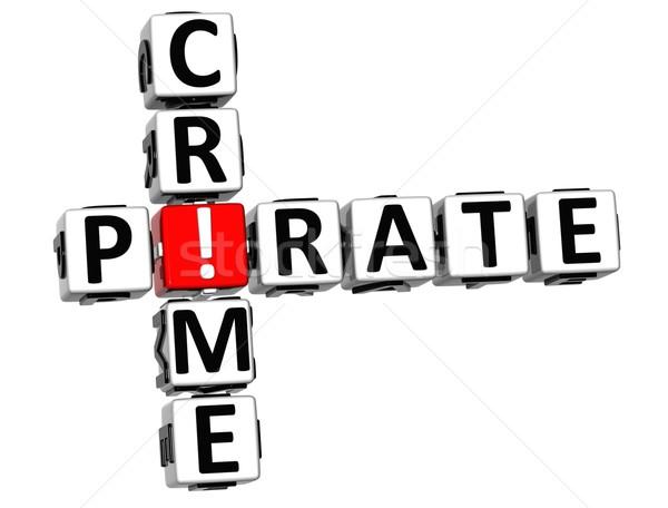 3D デジタル 犯罪 クロスワード 白 赤 ストックフォト © Mariusz_Prusaczyk
