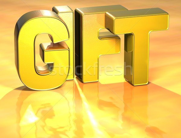 Stock photo: 3D Word Gift on gold background