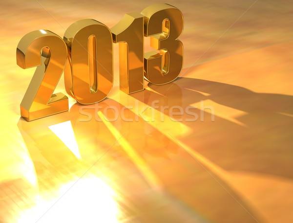 3D 2013 oro testo giallo felice Foto d'archivio © Mariusz_Prusaczyk