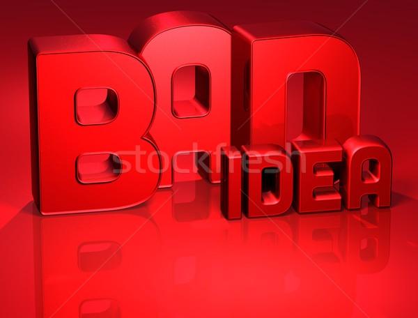 3D Word Bad Idea on red background Stock photo © Mariusz_Prusaczyk