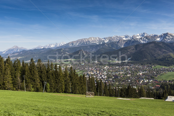 City of Zakopane and Tatras seen from the top of Gubalowka, emph Stock photo © Mariusz_Prusaczyk
