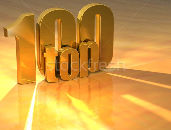 3D haut 100 or texte jaune Photo stock © Mariusz_Prusaczyk