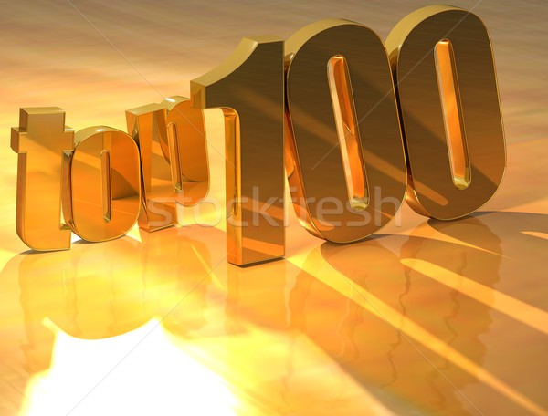 Foto d'archivio: 3D · top · 100 · oro · testo · giallo