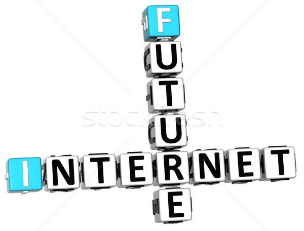 Stockfoto: 3D · toekomst · internet · kruiswoordraadsel · witte · business