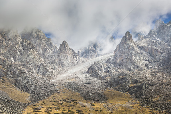 The panorama of mountain landscape of Ala-Archa gorge in the sum Stock photo © Mariusz_Prusaczyk