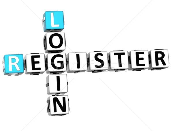 3D Login Register Crossword Stock photo © Mariusz_Prusaczyk