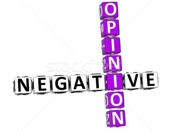 3D negatywne opinia krzyżówka biały szczęśliwy Zdjęcia stock © Mariusz_Prusaczyk