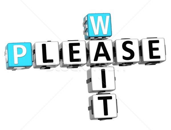 3d Please Wait Crossword text Stock photo © Mariusz_Prusaczyk