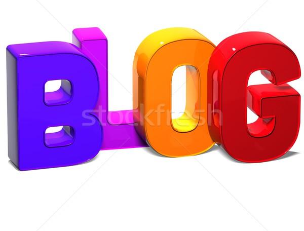 3D Word Blog on white background Stock photo © Mariusz_Prusaczyk
