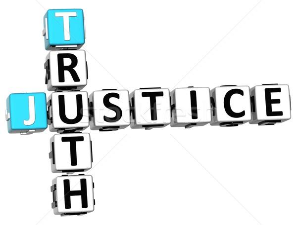3D sprawiedliwości prawda krzyżówka biały książki Zdjęcia stock © Mariusz_Prusaczyk