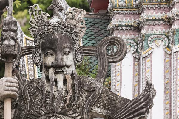 Stock fotó: Szobor · kínai · harcos · bejárat · buddhista · templom