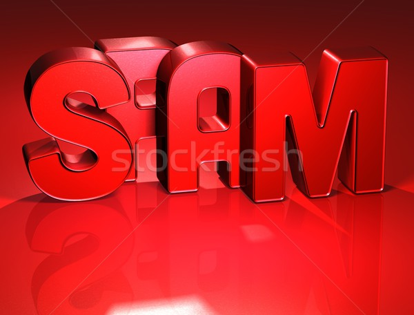 3D Word Spam on red background Stock photo © Mariusz_Prusaczyk