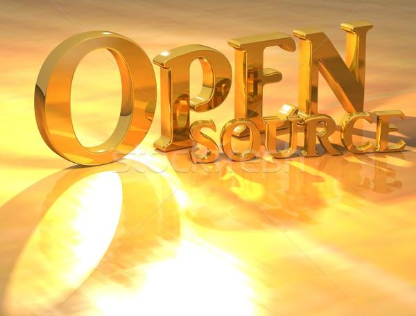 3D nyitva forrás arany szöveg citromsárga Stock fotó © Mariusz_Prusaczyk