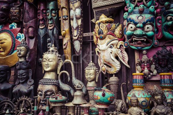 Rue magasin carré Népal visage crâne Photo stock © Mariusz_Prusaczyk