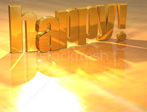 3D mutlu altın metin sarı ışık Stok fotoğraf © Mariusz_Prusaczyk