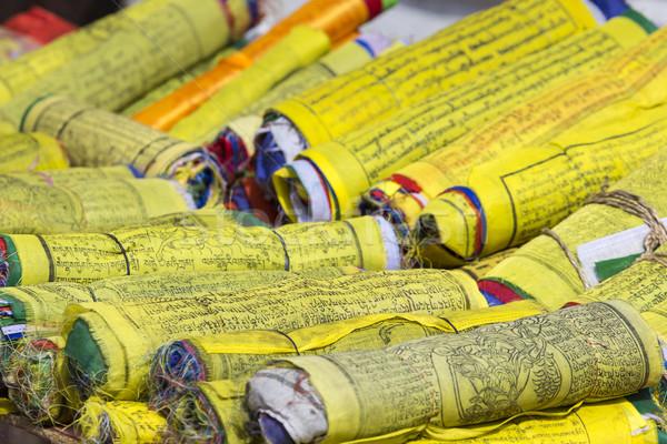 Budist dua bayraklar rulo dünya Stok fotoğraf © Mariusz_Prusaczyk