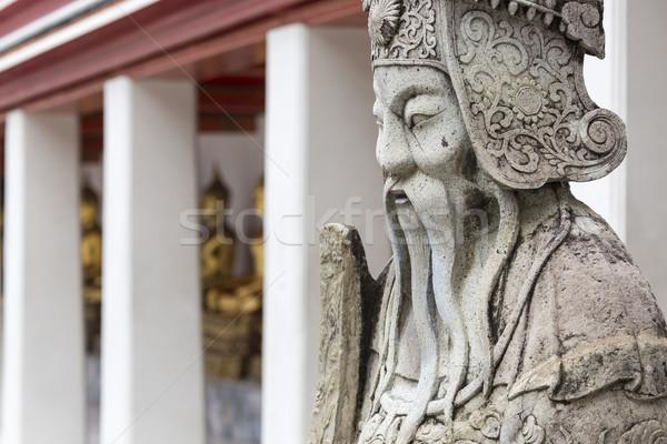 Estatua chino guerrero entrada templo Foto stock © Mariusz_Prusaczyk