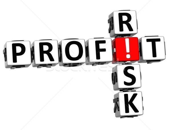 Stockfoto: 3D · krediet · risico · kruiswoordraadsel · witte · business