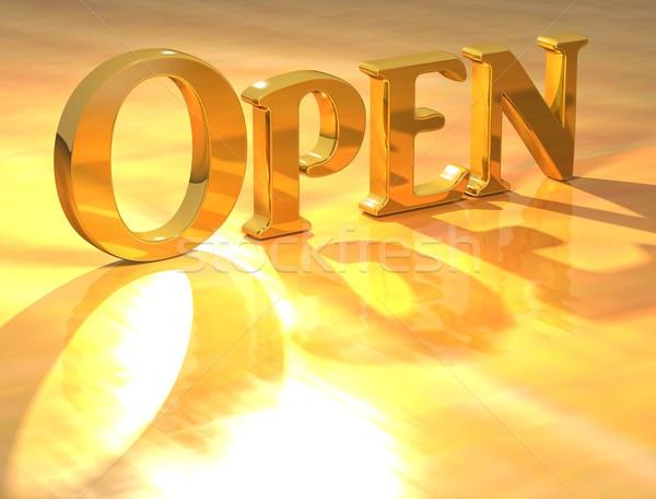 3D Open Gold text  Stock photo © Mariusz_Prusaczyk