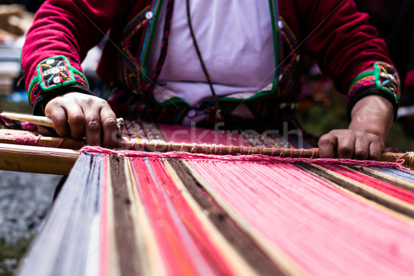 Traditional hand weaving in the Andes Mountains, Peru  Stock photo © Mariusz_Prusaczyk