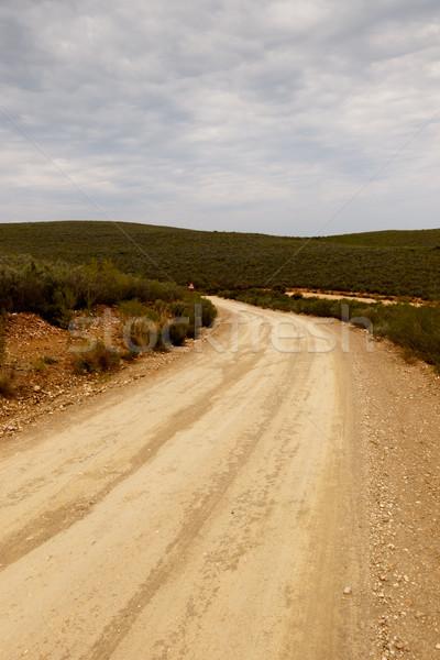 Chemin de terre herbe montagnes nuageux Photo stock © markdescande
