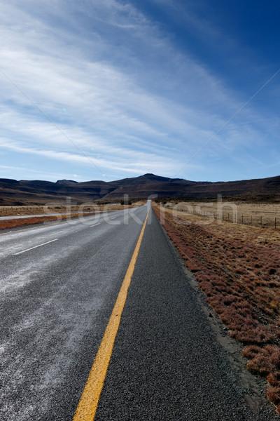 út vezető hegyek hosszú kék erdő Stock fotó © markdescande