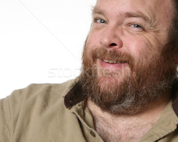 Obeso hombre retrato barbado sonrisa Foto stock © markhayes