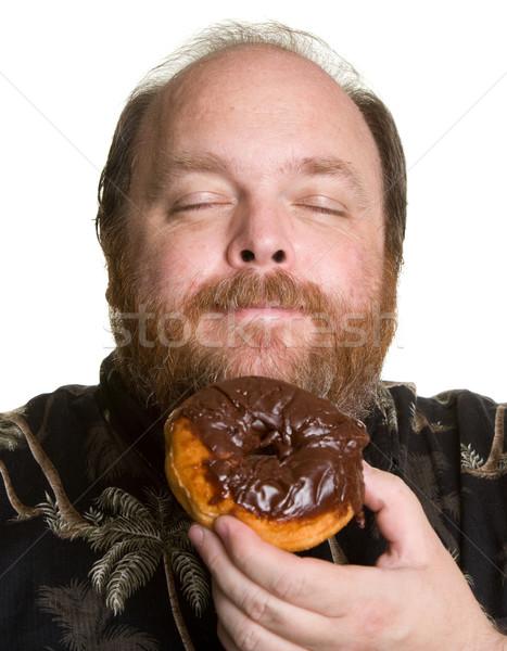 男 チョコレート ドーナツ 肥満した 食べる ストックフォト © markhayes
