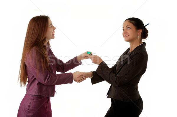 2 女性 キー 家 ハンドシェーク ストックフォト © markhayes