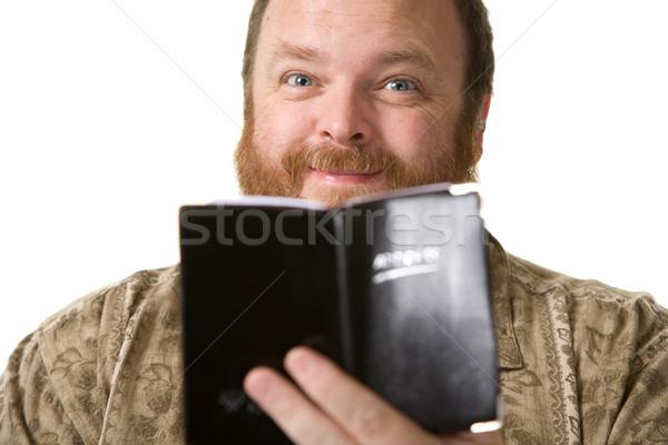 Felfelé néz szám elhízott középkorú férfi pózol stúdiófelvétel Stock fotó © markhayes