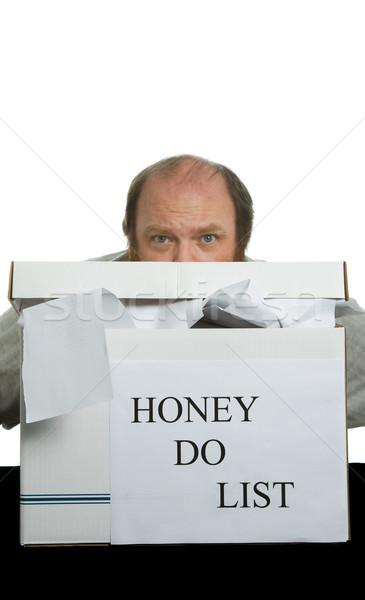 Méz lista rejtőzködik nagy állás férfi Stock fotó © markhayes