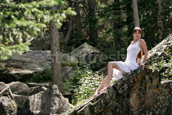 Genç kadın yaz gün yukarı Colorado dağlar Stok fotoğraf © markhayes