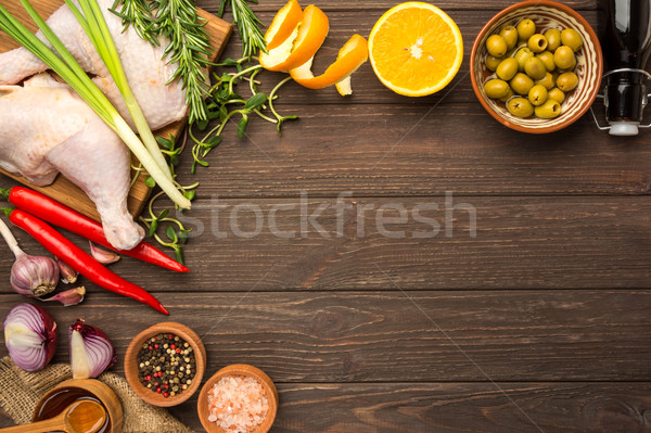 Prepared for cooking chicken legs. Flat lay Stock photo © markova64el