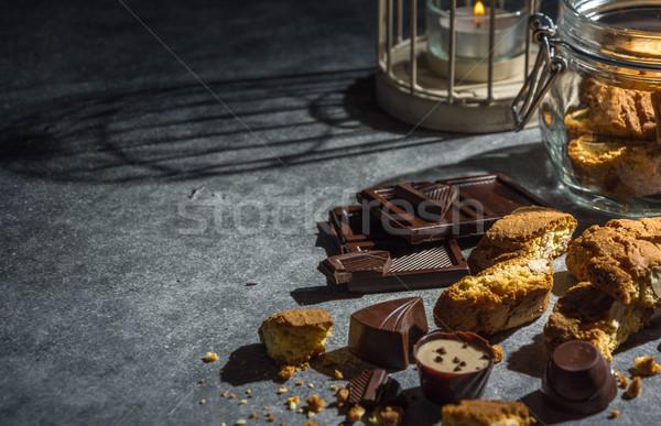 Mandula sütik sötét kulcs ízletes egészséges Stock fotó © markova64el