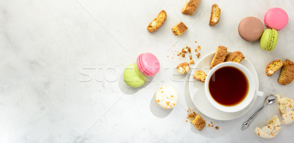 Tea with cookies and macaroons . Flat lay. Stock photo © markova64el