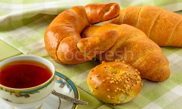 Healthy breakfast ingredients on a light green wooden table. Stock photo © markova64el