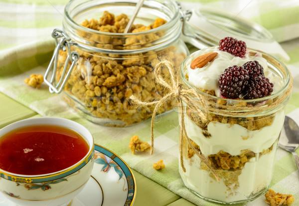 Saudável café da manhã ingredientes luz verde mesa de madeira caseiro Foto stock © markova64el