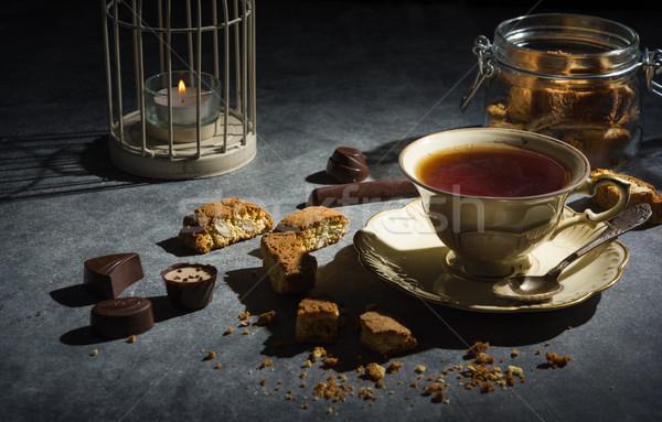 Csésze tea mandula sütik ízletes egészséges Stock fotó © markova64el