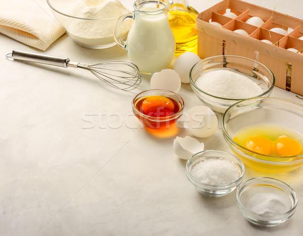 Hozzávalók készít palacsinták fehér copy space egészség Stock fotó © markova64el