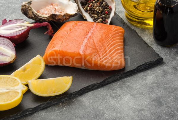 Hozzávalók mártás lazac gazdag omega 3 olaj Stock fotó © markova64el