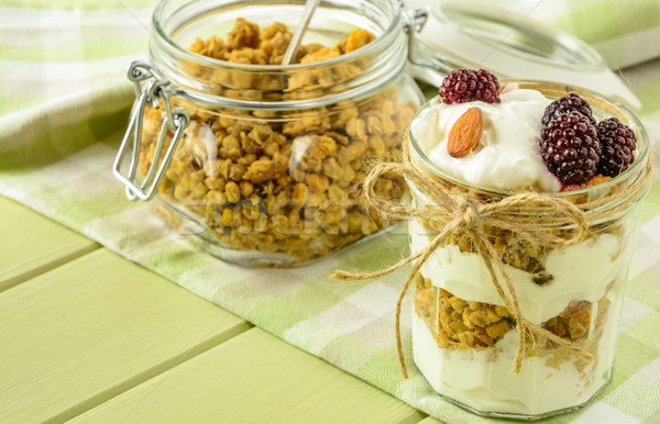 Healthy breakfast ingredients on a light green wooden table. Stock photo © markova64el