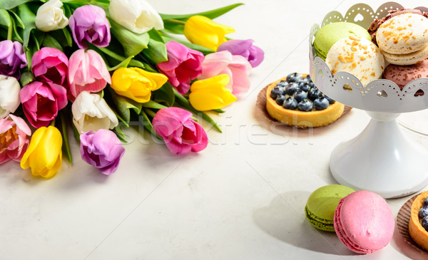 bouquet of tulips on white background Stock photo © markova64el