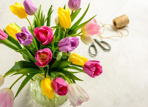 Virágcsokor tulipánok fehér gyönyörű ünnepi copy space Stock fotó © markova64el