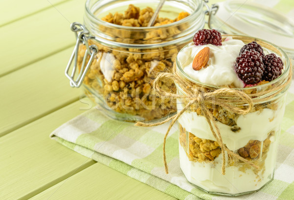 Stock photo: Healthy breakfast ingredients on a light green wooden table.