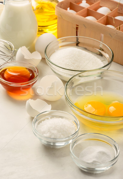 Hozzávalók készít palacsinták fehér egészség asztal Stock fotó © markova64el