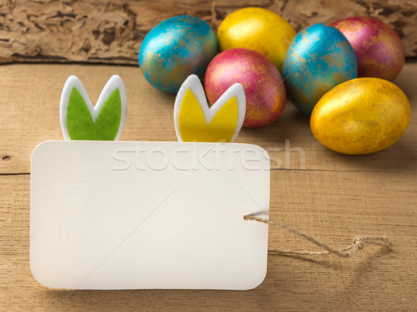 Easter eggs on a  wooden background. Copy space. Stock photo © markova64el