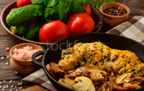 Baked chicken breast stuffed with spinach and cheese  Stock photo © markova64el