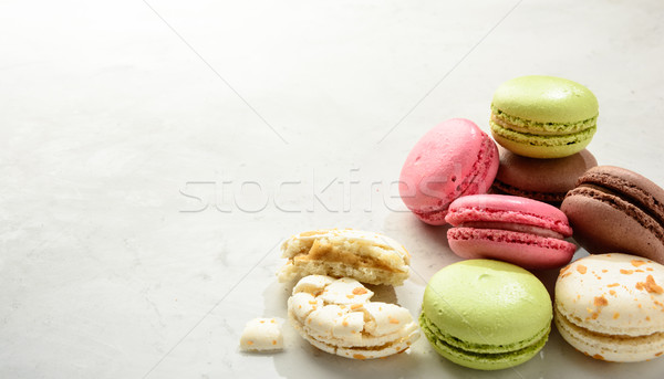 Macaroons  on a white background. Copy space. Stock photo © markova64el