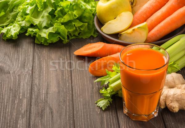 Wortel appelsap groenten donkere houten gezond eten Stockfoto © markova64el